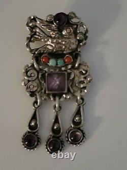 Vintage Amethyst Bird Turquoise Coral Sterling Brooch/pendant