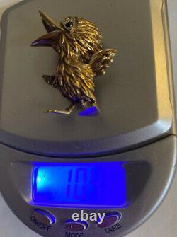 Vintage/Antique Ornate 14K Gold Duck Goose Bird Pin Brooch 10.4g