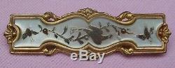 Vintage Antique Victorian R Gold P Carved MOP Birds Doves Collar Bar Pin Brooch