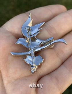 Vintage Antique brooch Bird Dove w Olive Branch rhinestones 1940s Very Rare Pin