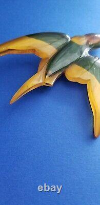 Vintage Apple Juice Bakelite Brooch Reverse Painted Figural Swallow Bird