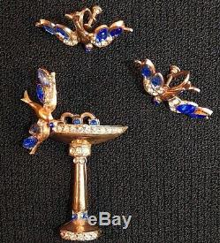 Vintage Art Deco Brooch and Earrings Set Bluebirds with Bird Bath Rose Gold