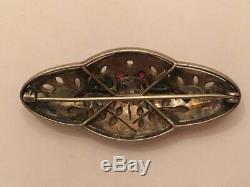 Vintage Art Deco Knoll & Pregizer 935 Sterling Silver Love Birds Paste Brooch