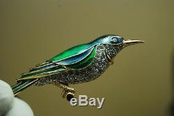 Vintage Art Deco Nouveau Pave Chrystal Rhinestone Enamel Hummingbird Bird Brooch