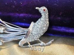 Vintage Art Deco Open Back Rhinestone Pave' Peacock 4 Long Bird Brooch Rare
