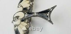 Vintage Art Deco PIERRE BEX Designer Enameled Rhinestone Bird Brooch