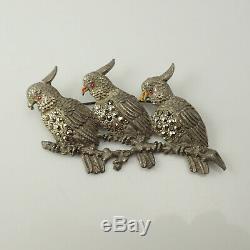 Vintage Art Deco Pot Metal Paste 3 Cockatoo Birds on Branch Marcasite Pin Brooch