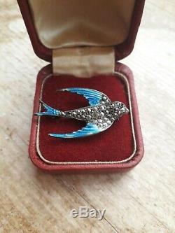 Vintage Art Deco fine silver enamel marcasite swallow bird brooch and earrings