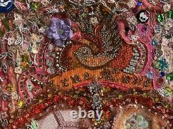 Vintage Art Mixed Media Beaded Pin Brooch Rhinestones Love Birds Retro Artist