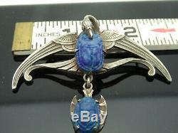 Vintage Art Nouveau Bird Crane Egyptian Revival Art Blue Glass SP Brooch Pin
