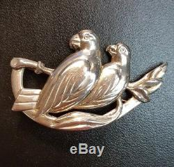 Vintage Art Nouveau Sterling Silver Two Love Birds Doves Branch Pin Brooch