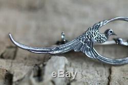 Vintage Art Nouveau Style Brooch Birds Pheasant Hallmarked