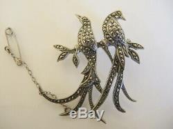 Vintage Australian Lega Sterling Silver Bird of Paradise Marcasite Brooch