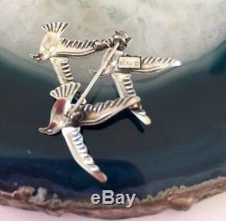Vintage BEAU 925 Sterling Silver Flock Of 3 Dove Birds Flying Pin Brooch signed