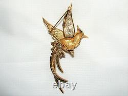 Vintage BOUCHER Large Gold Tone BIRD Pin or Brooch Rhinestones Flowers Figural