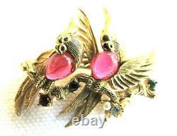 Vintage BOUCHER Signed Love Birds Jelly Bellies BroochPin Gold Tone Rhinestones