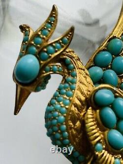 Vintage BOUCHER Style Faux Turquoise Cabochons Bird of Paradise Brooch Large