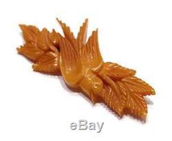 Vintage Bakelite Butterscotch Carved Bird Brooch Dove Leaf Pin