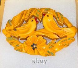 Vintage Bakelite Rare large Butterscotch brooch with birds