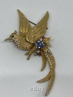 Vintage Beautiful Sphinx Singed Bird of Paradise Brooch Pin