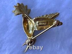 Vintage Bird 14k Gold Red Ruby Hummingbird Brooch Pin Mint Condition