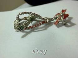 Vintage Bird Brooch Enamel Pave Rhinestones Dangle Cage 1940's Coro