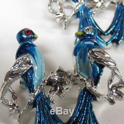 Vintage Bird Duette Scatter Pins Blue Brooch Love Birds Enamel