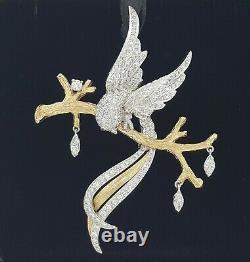 Vintage Bird of Paradise & Branch Platinum & 14K Gold 2 ct Diamond Brooch / Pin