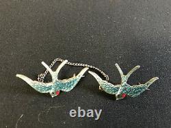 Vintage Blue Bird Brooch in sterling silver