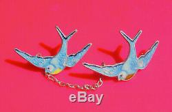 Vintage Blue Birds of Happiness Enameled Silver Double Brooch