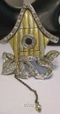Vintage Boucher Fur Clip Brooch Bird House Rhinestone Enamel Mechanical Figural