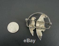 Vintage Braid Look Green Stones Parrot Birds Mexico Sterling Silver Brooch Pin