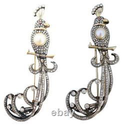 Vintage Brooch 18k Gold Silver Diamonds Pearl Big Bird w Appraisal (5271)