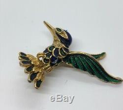 Vintage Brooch Pin A16221 Marked Hummingbird Enamel Gold Tone Bird