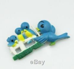 Vintage Brooch Pin Celluloid Birds Costume Jewellery Retro 50s 40s Jewelry Blue