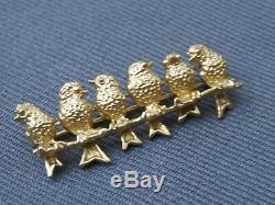 Vintage Brooch Signed Napier, Gilt Sterling Silver Love Birds On A Branch, Book