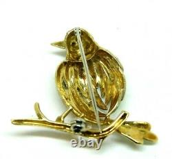 Vintage Brooch Years' 50 Italian Shaped Bird Gold Solid 18K With Ruby