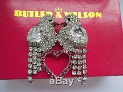 Vintage Butler & Wilson Clear Pink Crystal Glass Love Birds Heart Brooch Pin