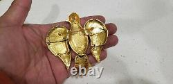 Vintage CADORO Large Gold ARTICULATED Eagle Bird Brooch Pin Pendant. 3.25
