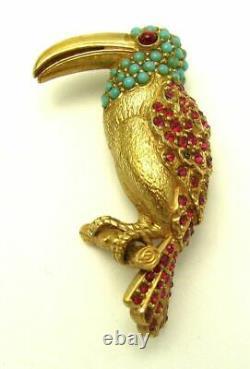 Vintage CINER Figural Toucan Parrot Bird Brooch Rhinestones Turquoise Cabs