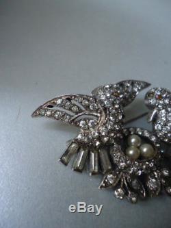Vintage CIRO Rare Love Birds Nest Solid & Pearl Eggs Silver Paste Brooch Nr Mint