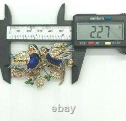 Vintage CORO Craft Blue Glass Belly Birds Duette Sterling Silver Pin/Brooch