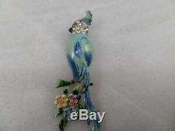 Vintage CORO DUETTE Enamel & Rhinestone Birds Fur Clip/Brooch #3783