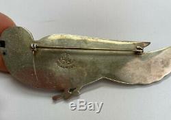 Vintage CORO Sterling Silver Norseland Bird Brooch Pin