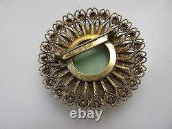 Vintage Carved Jadeite Jade Bird Silver Filigree Pin Brooch Antique