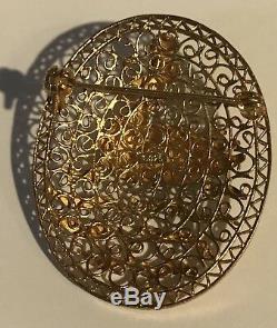 Vintage Chinese Gold Wash Silver Filigree Enamel Water Bird Duck Pin Brooch