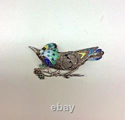 Vintage Chinese Silver Enameled Bird Brooch Parakeet Pin Parrot