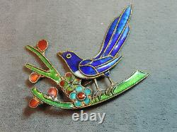 Vintage Cloisonne Blue Bird on Branch Flowers Old Brooch Pin Ce 78