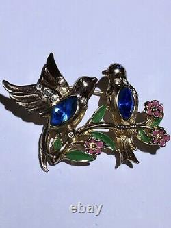 Vintage Coro Double Love Birds Adolph Katz Rhinestone Enamel Brooch Pin