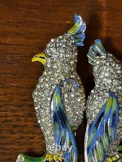 Vintage Coro Duette Art Deco Enamel Rhinestone Double Birds Fur Clips Brooch